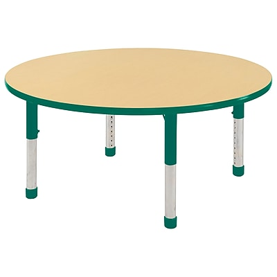 """60"""" Round T-Mold Activity Table, Maple/Green/Chunky"""
