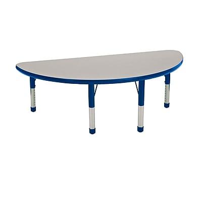 "24""x48"" Half Round T-Mold Activity Table, Grey/Blue/Chunky"