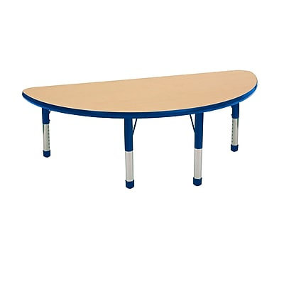 "24""x48"" Half Round T-Mold Activity Table, Maple/Blue/Chunky"