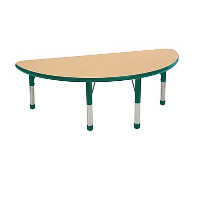 "24""x48"" Half Round T-Mold Activity Table, Maple/Green/Chunky"