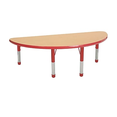 "24""x48"" Half Round T-Mold Activity Table, Maple/Red/Chunky"