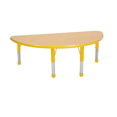 """24""""x48"""" Half Round T-Mold Activity Table, Maple/Yellow/Chunky"""
