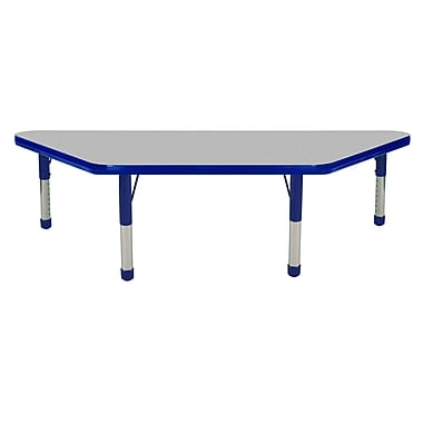 "24""x48"" Trapezoid T-Mold Activity Table, Grey/Blue/Chunky"