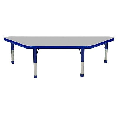 "24""x48"" Trapezoid T-Mold Activity Table, Grey/Blue/Chunky"