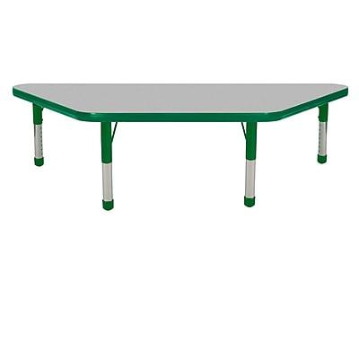"24""x48"" Trapezoid T-Mold Activity Table, Grey/Green/Chunky"