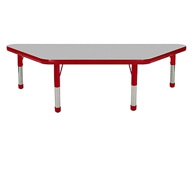 """24""""x48"""" Trapezoid T-Mold Activity Table, Grey/Red/Chunky"""