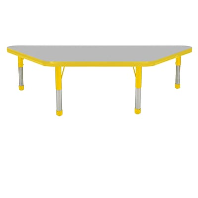 "24""x48"" Trapezoid T-Mold Activity Table, Grey/Yellow/Chunky"