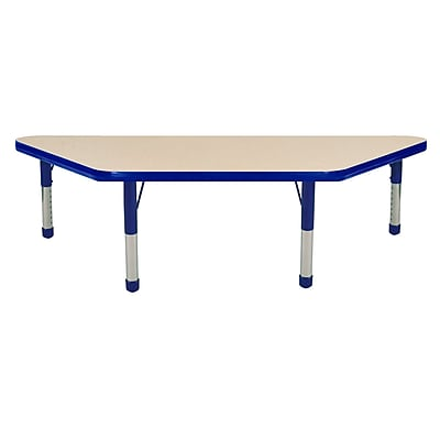 """24""""x48"""" Trapezoid T-Mold Activity Table, Maple/Blue/Chunky"""