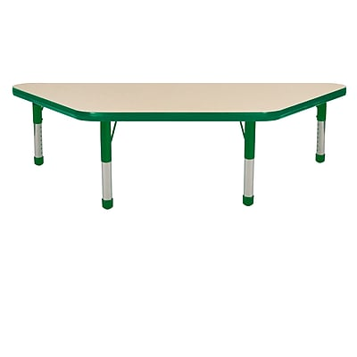 "24""x48"" Trapezoid T-Mold Activity Table, Maple/Green/Chunky"