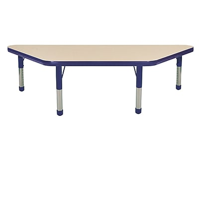 "24""x48"" Trapezoid T-Mold Activity Table, Maple/Navy/Chunky"