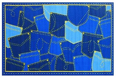 Fun Rugs Fun Time Jean Pocket Blue Area Rug; 4'3'' x 6'6''