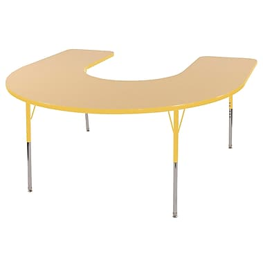 ECR4Kids Horseshoe Table Maple/Yellow-Standard Swivel Glide (ELR-14103-MYE-SS)