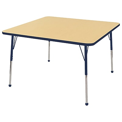 "48"" Square T-Mold Activity Table, Maple/Navy/Standard Ball"