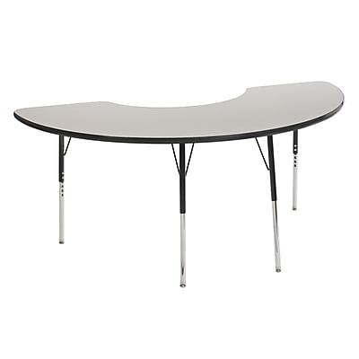 "36""x72"" Half Moon T-Mold Activity Table, Grey/Black/Standard Swivel"