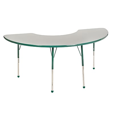 "36""x72"" Half Moon T-Mold Activity Table, Grey/Green/Toddler Ball"