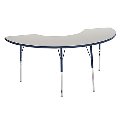 "36""x72"" Half Moon T-Mold Activity Table, Grey/Navy/Standard Swivel"