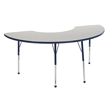 "36""x72"" Half Moon T-Mold Activity Table, Grey/Navy/Toddler Ball"