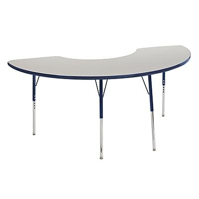 "36""x72"" Half Moon T-Mold Activity Table, Grey/Navy/Toddler Swivel"