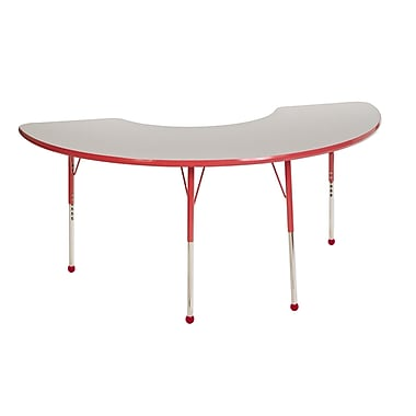 "36""x72"" Half Moon T-Mold Activity Table, Grey/Red/Standard Ball"
