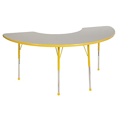 "36""x72"" Half Moon T-Mold Activity Table, Grey/Yellow/Standard Ball"