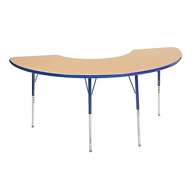 "36""x72"" Half Moon T-Mold Activity Table, Maple/Blue/Toddler Swivel"