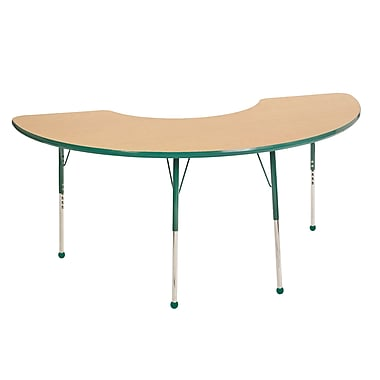 "36""x72"" Half Moon T-Mold Activity Table, Maple/Green/Toddler Ball"