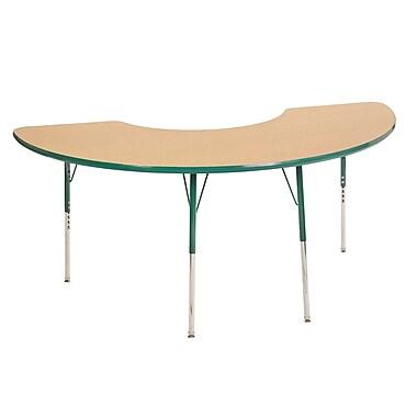 "36""x72"" Half Moon T-Mold Activity Table, Maple/Green/Toddler Swivel"