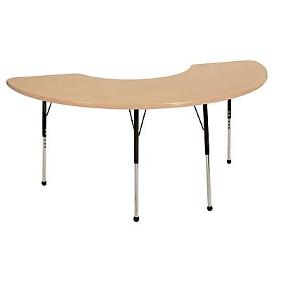 "36""x72"" Half Moon T-Mold Activity Table, Maple/Maple/Black/Toddler Ball"