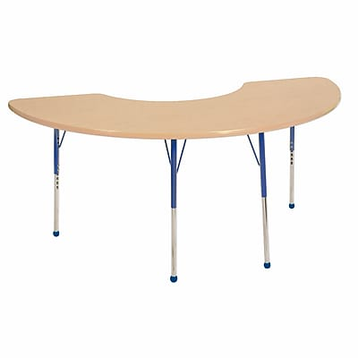 "36""x72"" Half Moon T-Mold Activity Table, Maple/Maple/Blue/Standard Ball"
