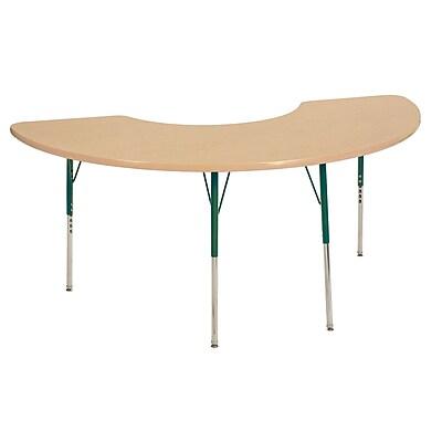 "36""x72"" Half Moon T-Mold Activity Table, Maple/Maple/Green/Toddler Swivel"