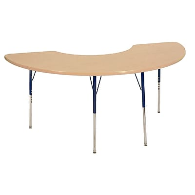 "36""x72"" Half Moon T-Mold Activity Table, Maple/Maple/Navy/Toddler Swivel"
