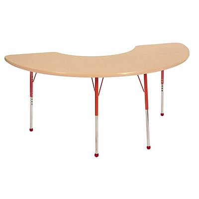 """36""""x72"""" Half Moon T-Mold Activity Table, Maple/Maple/Red/Standard Ball"""