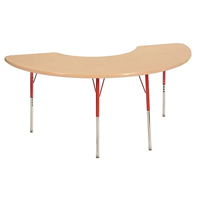 """36""""x72"""" Half Moon T-Mold Activity Table, Maple/Maple/Red/Toddler Swivel"""
