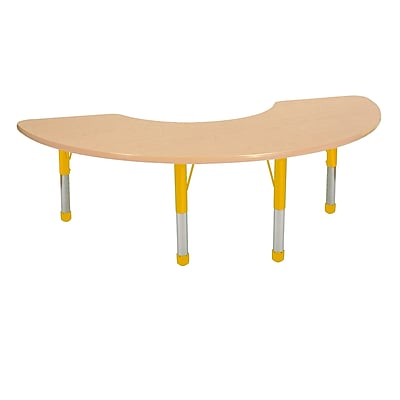 "36""x72"" Half Moon T-Mold Activity Table, Maple/Maple/Yellow/Chunky"