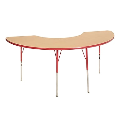 "36""x72"" Half Moon T-Mold Activity Table, Maple/Red/Standard Swivel"