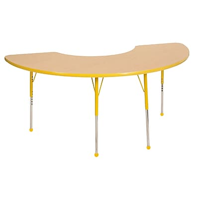 "36""x72"" Half Moon T-Mold Activity Table, Maple/Yellow/Standard Ball"
