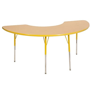 "36""x72"" Half Moon T-Mold Activity Table, Maple/Yellow/Toddler Swivel"