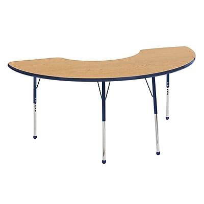 "36""x72"" Half Moon T-Mold Activity Table, Oak/Navy/Standard Ball"
