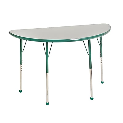 "24""x48"" Half Round T-Mold Activity Table, Grey/Green/Toddler Ball"