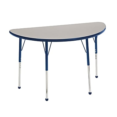 "24""x48"" Half Round T-Mold Activity Table, Grey/Navy/Standard Ball"