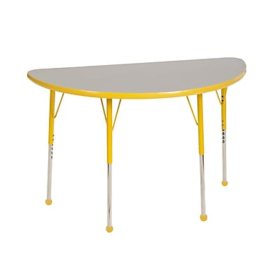 "24""x48"" Half Round T-Mold Activity Table, Grey/Yellow/Standard Ball"