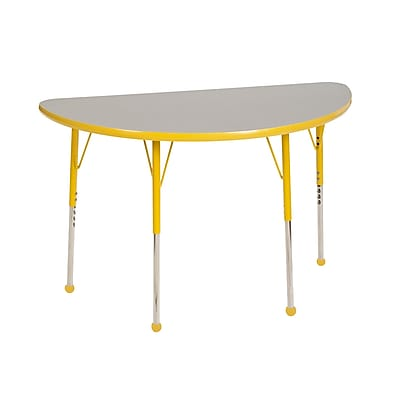 "24""x48"" Half Round T-Mold Activity Table, Grey/Yellow/Toddler Ball"