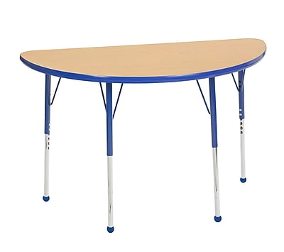 "24""x48"" Half Round T-Mold Activity Table, Maple/Blue/Toddler Ball"