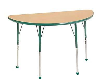 "24""x48"" Half Round T-Mold Activity Table, Maple/Green/Toddler Ball"
