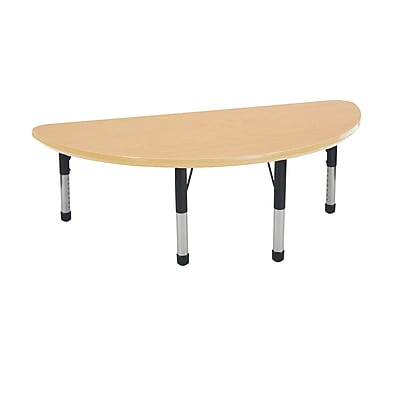 "24""x48"" Half Round T-Mold Activity Table, Maple/Maple/Black/Chunky"