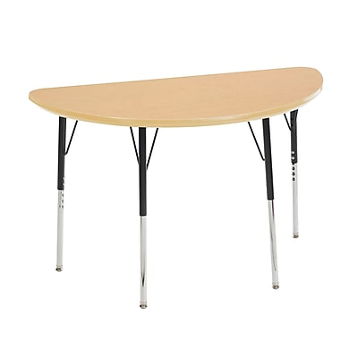 "24""x48"" Half Round T-Mold Activity Table, Maple/Maple/Black/Standard Swivel"