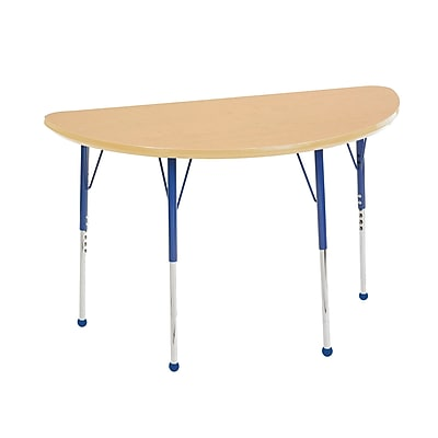 "24""x48"" Half Round T-Mold Activity Table, Maple/Maple/Blue/Standard Ball"