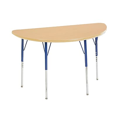 "24""x48"" Half Round T-Mold Activity Table, Maple/Maple/Blue/Standard Swivel"