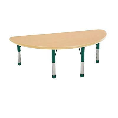 "24""x48"" Half Round T-Mold Activity Table, Maple/Maple/Green/Chunky"