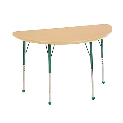 "24""x48"" Half Round T-Mold Activity Table, Maple/Maple/Green/Standard Ball"